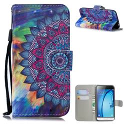 Oil Painting Mandala 3D Painted Leather Wallet Phone Case for Samsung Galaxy J3 2016 J320