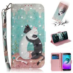 Black and White Cat 3D Painted Leather Wallet Phone Case for Samsung Galaxy J3 2016 J320