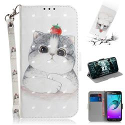Cute Tomato Cat 3D Painted Leather Wallet Phone Case for Samsung Galaxy J3 2016 J320