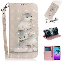 Three Squirrels 3D Painted Leather Wallet Phone Case for Samsung Galaxy J3 2016 J320