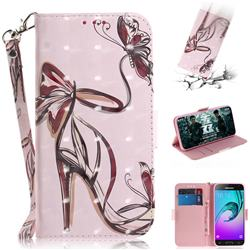Butterfly High Heels 3D Painted Leather Wallet Phone Case for Samsung Galaxy J3 2016 J320