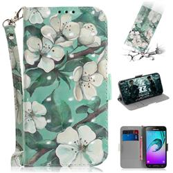 Watercolor Flower 3D Painted Leather Wallet Phone Case for Samsung Galaxy J3 2016 J320