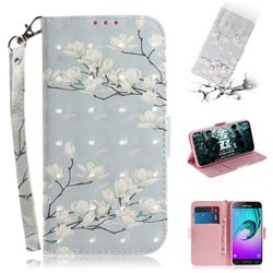 Magnolia Flower 3D Painted Leather Wallet Phone Case for Samsung Galaxy J3 2016 J320