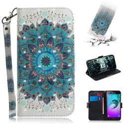 Peacock Mandala 3D Painted Leather Wallet Phone Case for Samsung Galaxy J3 2016 J320