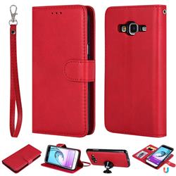Retro Greek Detachable Magnetic PU Leather Wallet Phone Case for Samsung Galaxy J3 2016 J320 - Red