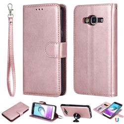 Retro Greek Detachable Magnetic PU Leather Wallet Phone Case for Samsung Galaxy J3 2016 J320 - Rose Gold