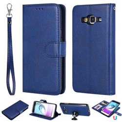 Retro Greek Detachable Magnetic PU Leather Wallet Phone Case for Samsung Galaxy J3 2016 J320 - Blue