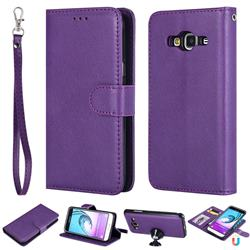 Retro Greek Detachable Magnetic PU Leather Wallet Phone Case for Samsung Galaxy J3 2016 J320 - Purple