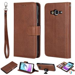 Retro Greek Detachable Magnetic PU Leather Wallet Phone Case for Samsung Galaxy J3 2016 J320 - Brown
