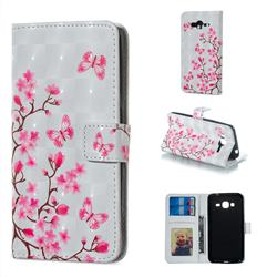 Butterfly Sakura Flower 3D Painted Leather Phone Wallet Case for Samsung Galaxy J3 2016 J320