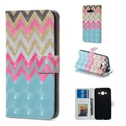 Color Wave 3D Painted Leather Phone Wallet Case for Samsung Galaxy J3 2016 J320