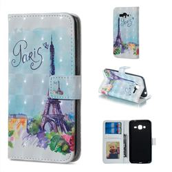 Paris Tower 3D Painted Leather Phone Wallet Case for Samsung Galaxy J3 2016 J320