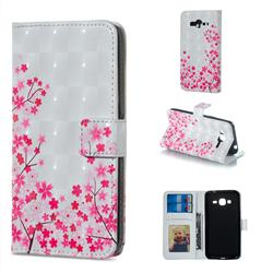 Cherry Blossom 3D Painted Leather Phone Wallet Case for Samsung Galaxy J3 2016 J320