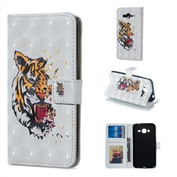 Toothed Tiger 3D Painted Leather Phone Wallet Case for Samsung Galaxy J3 2016 J320