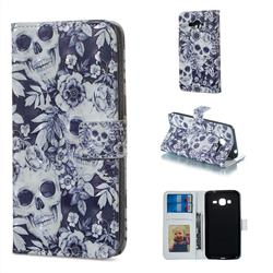 Skull Flower 3D Painted Leather Phone Wallet Case for Samsung Galaxy J3 2016 J320