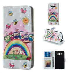 Rainbow Owl Family 3D Painted Leather Phone Wallet Case for Samsung Galaxy J3 2016 J320