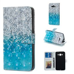 Sea Sand 3D Painted Leather Phone Wallet Case for Samsung Galaxy J3 2016 J320