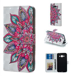 Mandara Flower 3D Painted Leather Phone Wallet Case for Samsung Galaxy J3 2016 J320