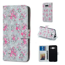 Roses Flower 3D Painted Leather Phone Wallet Case for Samsung Galaxy J3 2016 J320