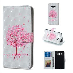 Sakura Flower Tree 3D Painted Leather Phone Wallet Case for Samsung Galaxy J3 2016 J320