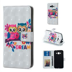 Couple Owl 3D Painted Leather Phone Wallet Case for Samsung Galaxy J3 2016 J320