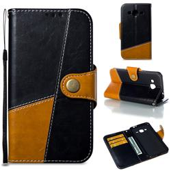 Retro Magnetic Stitching Wallet Flip Cover for Samsung Galaxy J3 2016 J320 - Black