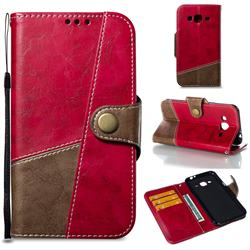 Retro Magnetic Stitching Wallet Flip Cover for Samsung Galaxy J3 2016 J320 - Rose Red