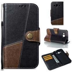 Retro Magnetic Stitching Wallet Flip Cover for Samsung Galaxy J3 2016 J320 - Dark Gray