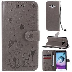 Embossing Bee and Cat Leather Wallet Case for Samsung Galaxy J3 2016 J320 - Gray
