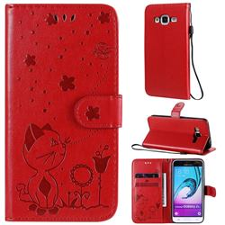 Embossing Bee and Cat Leather Wallet Case for Samsung Galaxy J3 2016 J320 - Red
