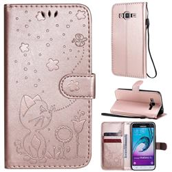 Embossing Bee and Cat Leather Wallet Case for Samsung Galaxy J3 2016 J320 - Rose Gold