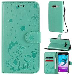 Embossing Bee and Cat Leather Wallet Case for Samsung Galaxy J3 2016 J320 - Green