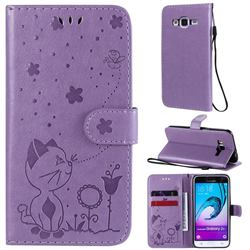 Embossing Bee and Cat Leather Wallet Case for Samsung Galaxy J3 2016 J320 - Purple