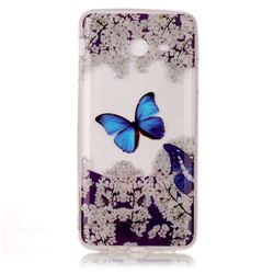 Blue Butterfly Flower Super Clear Soft TPU Back Cover for Samsung Galaxy J3 2017 Emerge