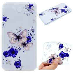 Blue Butterfly Flowers Super Clear Soft TPU Back Cover for Samsung Galaxy J3 2017 Emerge US Edition