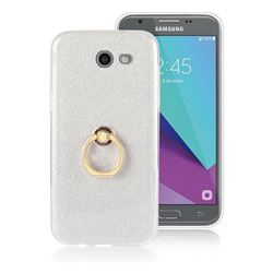 Luxury Soft TPU Glitter Back Ring Cover with 360 Rotate Finger Holder Buckle for Samsung Galaxy J3 2017 Emerge US Edition - White
