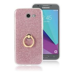 Luxury Soft TPU Glitter Back Ring Cover with 360 Rotate Finger Holder Buckle for Samsung Galaxy J3 2017 Emerge US Edition - Pink