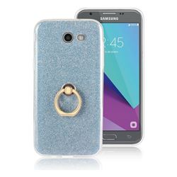 Luxury Soft TPU Glitter Back Ring Cover with 360 Rotate Finger Holder Buckle for Samsung Galaxy J3 2017 Emerge US Edition - Blue