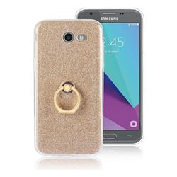 Luxury Soft TPU Glitter Back Ring Cover with 360 Rotate Finger Holder Buckle for Samsung Galaxy J3 2017 Emerge US Edition - Golden