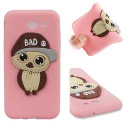 Bad Boy Owl Soft 3D Silicone Case for Samsung Galaxy J3 2017 Emerge US Edition - Pink