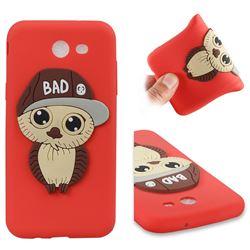 Bad Boy Owl Soft 3D Silicone Case for Samsung Galaxy J3 2017 Emerge US Edition - Red