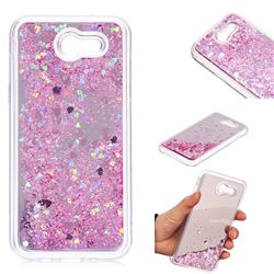 Glitter Sand Mirror Quicksand Dynamic Liquid Star TPU Case for Samsung Galaxy J3 2017 Emerge US Edition - Cherry Pink