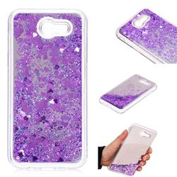 Glitter Sand Mirror Quicksand Dynamic Liquid Star TPU Case for Samsung Galaxy J3 2017 Emerge US Edition - Purple