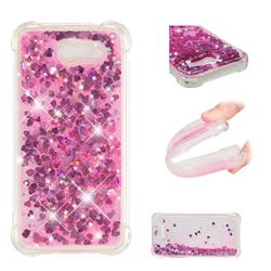 Dynamic Liquid Glitter Sand Quicksand TPU Case for Samsung Galaxy J3 2017 Emerge US Edition - Pink Love Heart