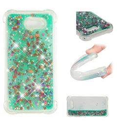 Dynamic Liquid Glitter Sand Quicksand TPU Case for Samsung Galaxy J3 2017 Emerge US Edition - Green Love Heart