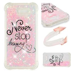 Never Stop Dreaming Dynamic Liquid Glitter Sand Quicksand Star TPU Case for Samsung Galaxy J3 2017 Emerge US Edition