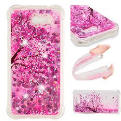Pink Cherry Blossom Dynamic Liquid Glitter Sand Quicksand Star TPU Case for Samsung Galaxy J3 2017 Emerge US Edition
