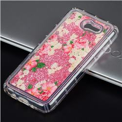 Rose Flower Glassy Glitter Quicksand Dynamic Liquid Soft Phone Case for Samsung Galaxy J3 2017 Emerge US Edition