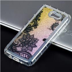 Diagonal Lace Glassy Glitter Quicksand Dynamic Liquid Soft Phone Case for Samsung Galaxy J3 2017 Emerge US Edition