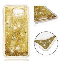 Dynamic Liquid Glitter Quicksand Sequins TPU Phone Case for Samsung Galaxy J3 2017 Emerge US Edition - Golden